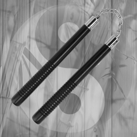 Nunchaku Black Wood Engraved Ball Bearing 12 inch