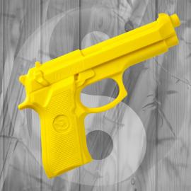 Pistola in Gomma Rigida Gialla da Allenamento Arti Marziali Autodifesa