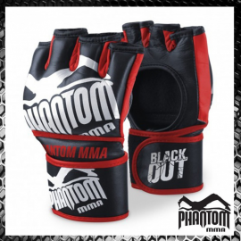 "Phantom MMA Gloves ""Blackout"" - Black/Red"