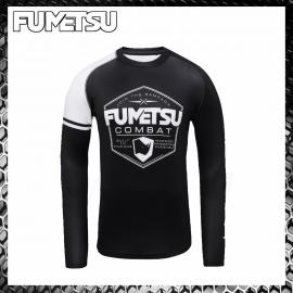 Fumetsu Rampage Black/Grey Rashguard Compression Manica Lunga Abbigliamento Arti Marziali MMA BJJ