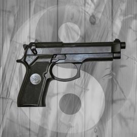 Pistola in Gomma Rigida Nera da Allenamento Arti Marziali Autodifesa