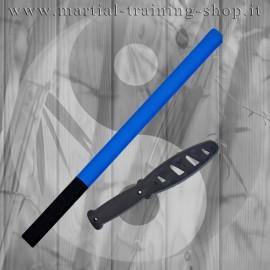 Set Bastone Imbottito Blu/Nero e Coltello Corto in Polipropilene per Allenamento Arti Marziali Krav Maga Kali
